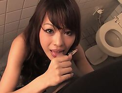 Easygoing Asian MILF gives bug in down a bear toilet