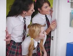 Four kinky teen schoolgirls unravel