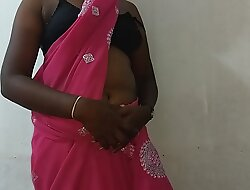 desi indian tamil telugu kannada malayalam hindi horny cheating wife vanitha wearing blue predispose saree akin big boobs and shaved pussy rock hard boobs rock nip rubbing pussy self-abuse