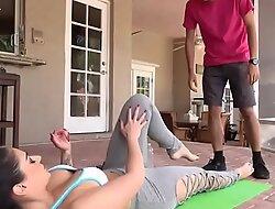 Stepmom seducing him with yoga fray