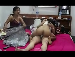 Threesome, a boss coupled with the brush sexy 2 secretaries