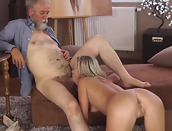 VIP4K. Old papa spends wonderful time with adorable blonde